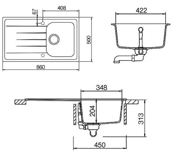 Technical drawing QS-V18861 / AME860SN/