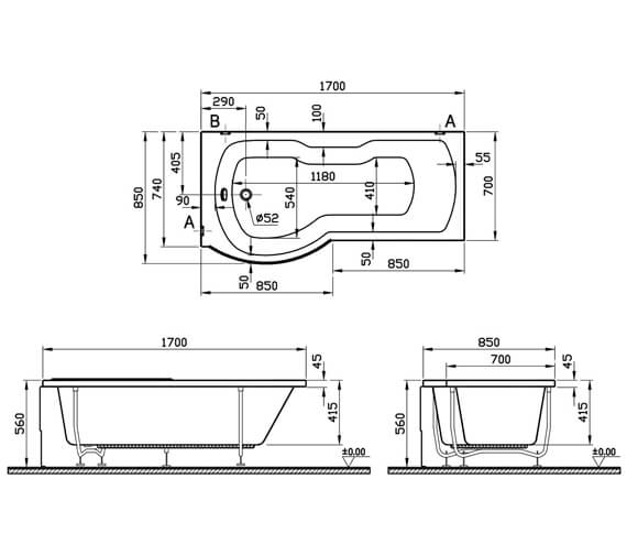 Additional image of VitrA Optima 1700 x 700mm P Shape Right Hand Shower Bath