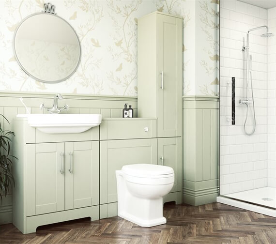Lecico Cambridge Light Sage Back To Wall WC Unit With Concealed Cistern