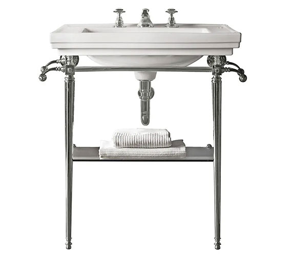 Imperial Astoria Deco Large Stand With Towel Rack And 640mm Basin
