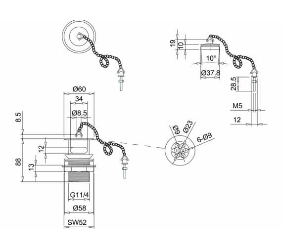 Technical drawing QS-V105959 / W1GOLD