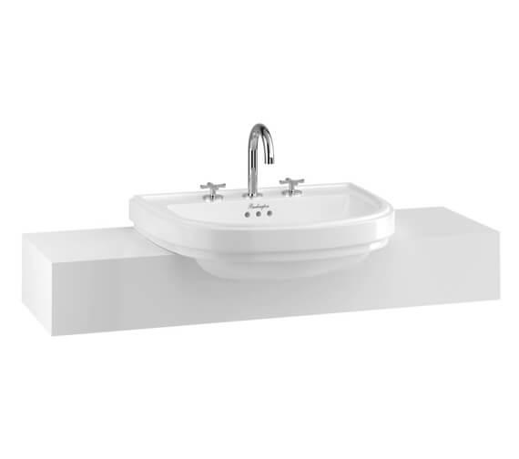 Burlington Riviera 580 x 470mm White Semi-Recessed Basin