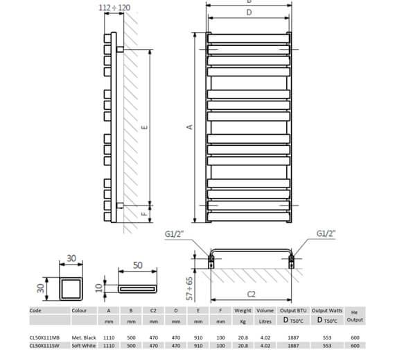 Technical drawing QS-V8874 / CL50X111MB