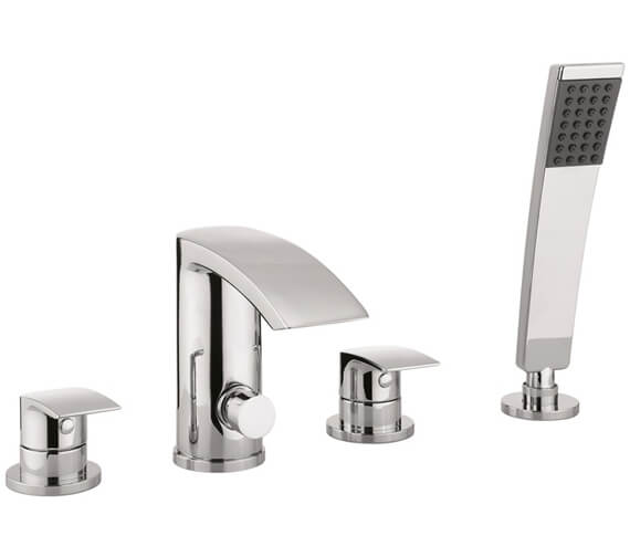Crosswater Flow 4 Hole Deck Mounted Bath Shower Mixer Tap Set With Kit
