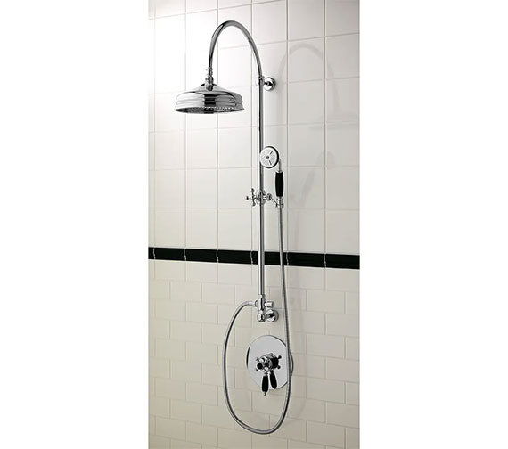 Imperial Westminster Black Thermostatic Concealed Valve With Edwardian Rigid Riser And 220mm Dart Head - Black Handset