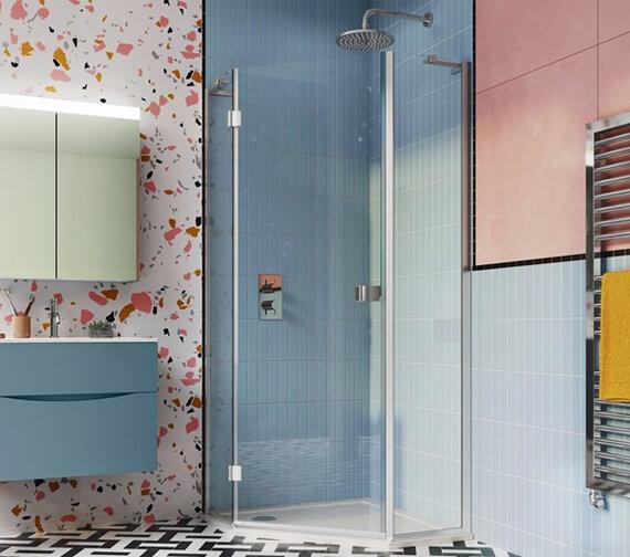 Crosswater Design Plus Semi Frame-Less 900mm Pentagon Shower Enclosure