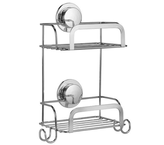 Croydex Stick N Lock Chrome 2 Tier Compact Basket