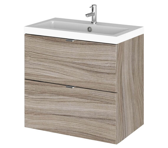 Hudson Reed Fusion 600mm Wide 2 Drawer Vanity Unit Driftwood And Basin - Ex Display