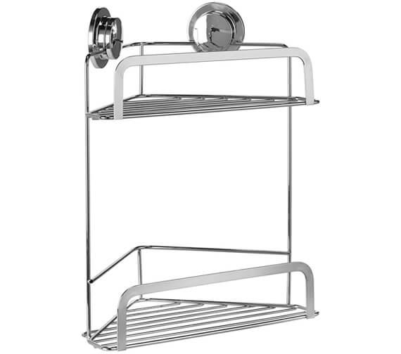 Additional image of Croydex Chrome Stick N Lock 260mm Corner Shower Basket