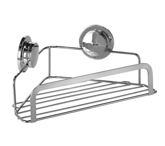 Croydex Chrome Stick N Lock 260mm Corner Shower Basket
