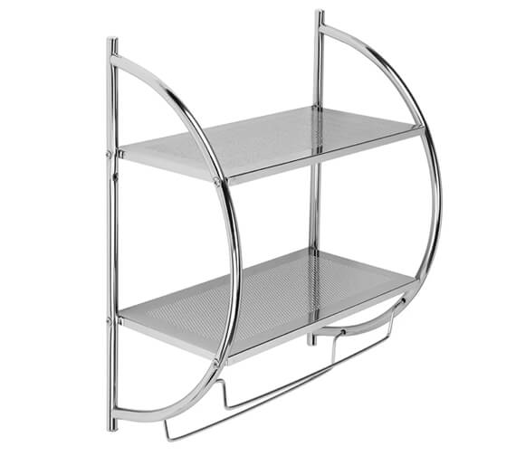 Croydex Chrome Wall Mounted Curved Shelving Unit And Towel Rack