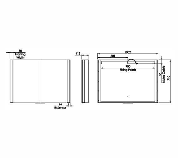 Additional image of Roper Rhodes Vertex Illuminated Double Door Mirror Cabinet