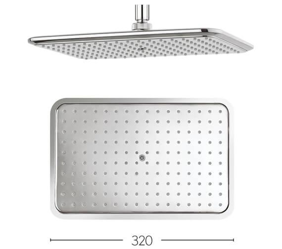 Crosswater Essence 320 x 210mm Rectangular Shower Head - FH321C