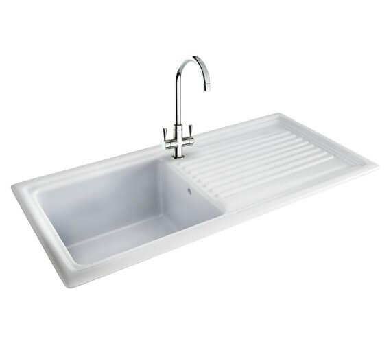 Carron Phoenix Sienna 100 White Ceramic Kitchen Sink