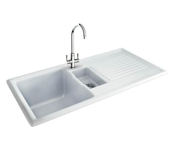 Carron Phoenix Sienna 150 White 1.5 Bowl Ceramic Kitchen Sink