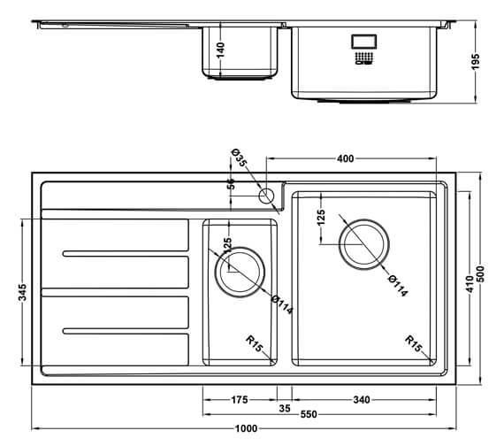 Additional image of 1810 Company Forza Duo 150i 1000 x 500mm 1.5 Bowl Kitchen Sink