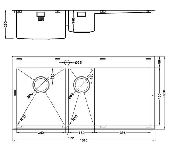 Technical drawing QS-V101460 / RD/6/IF/U10/S/BBL/254