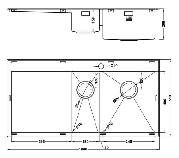 Additional image of 1810 Company Razor Duo 10 6 I-F BBR 1.5 Bowl Kitchen Sink