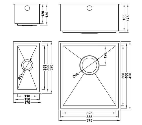 Technical drawing QS-V106000 / AU/3515-300/U/S/16MM/SOS/458