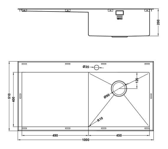 Additional image of 1810 Company Razor Uno 10 5 I-F BBL Single Bowl Sink