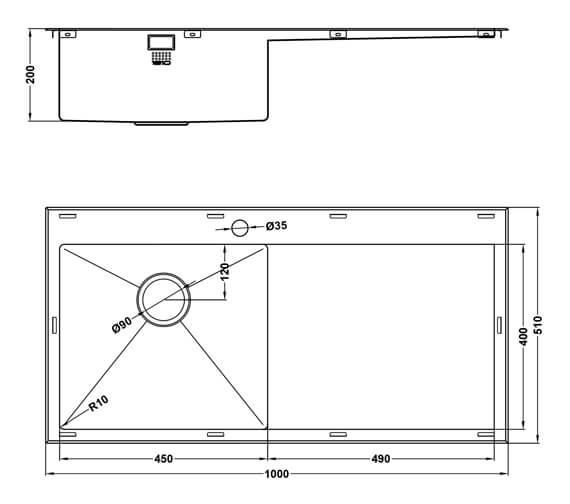 Technical drawing QS-V101461 / RU/5/IF/U10/S/BBL/250