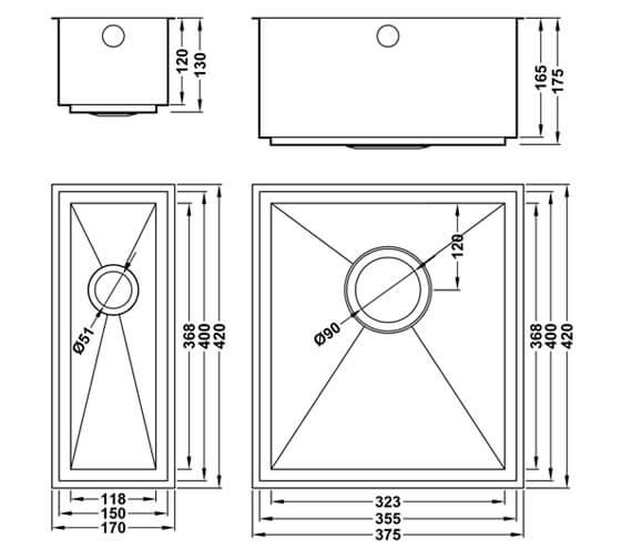 Technical drawing QS-V105999 / AU/3515-400/U/S/16MM/SOS/457
