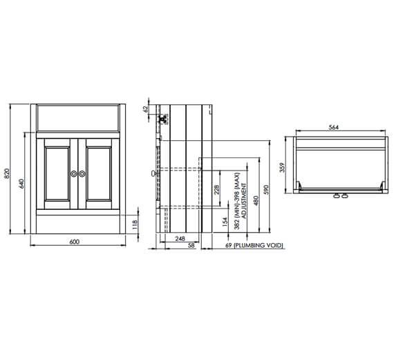 Technical drawing QS-V6780 / HAM700B.W