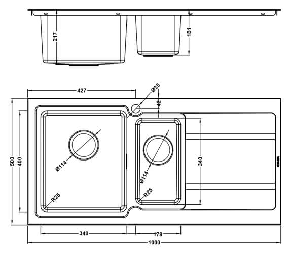 Technical drawing QS-V106002 / BD/150/I/S/BBL/424