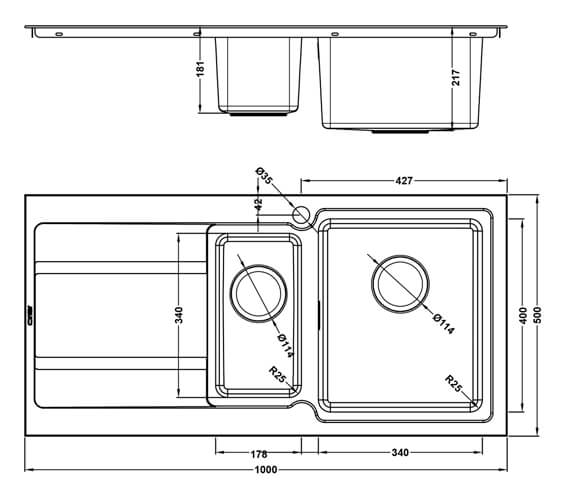 Additional image of 1810 Company Bordoduo 150i BBL 1.5 Bowl Inset Kitchen Sink