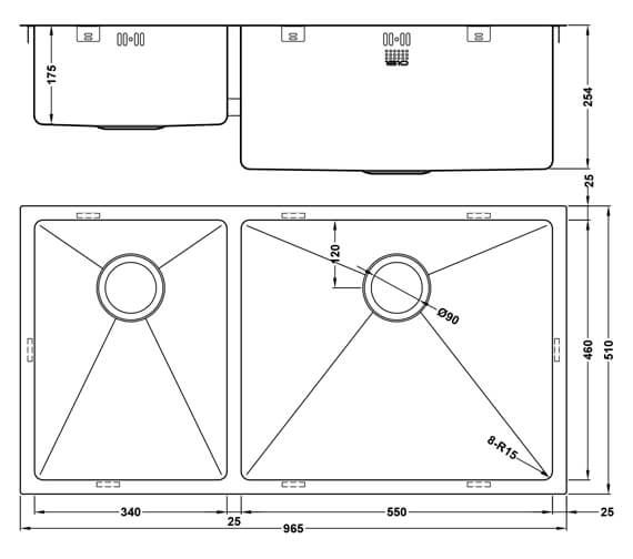 Additional image of 1810 Company Zenduo15 550-340U XXL DEEP 1.5 Bowl Kitchen Sink Left Hand Main Bowl