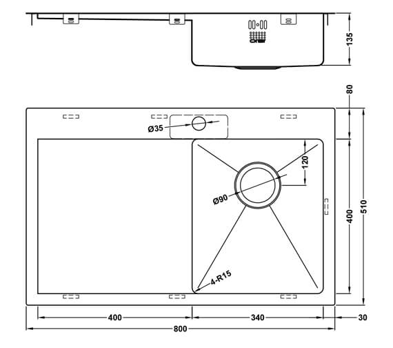 Additional image of 1810 Company Zenuno15 34 I-F Accessible Left Hand Single Bowl Kitchen Sink