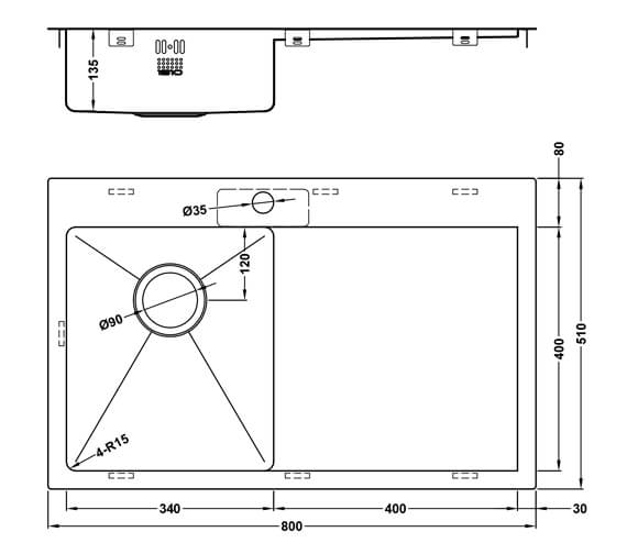 Technical drawing QS-V101463 / ZU/34/IF/U15/S/BBL/160