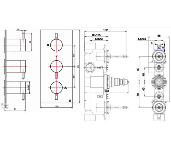 Technical drawing QS-V72621 / PRO2000LBPC WLBP2000R+