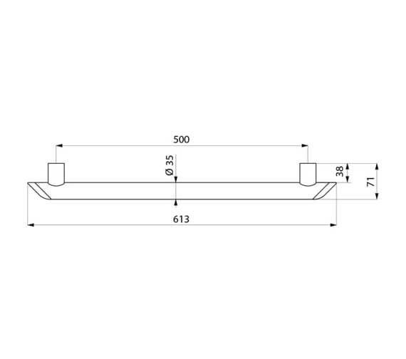 Alternate image of Delabie Be-Line Aluminium Straight Grab Bar