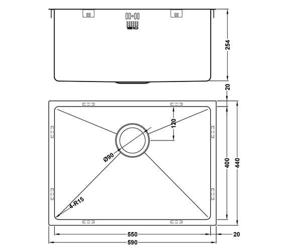 Technical drawing QS-V101464 / ZU/55/U15/D/S/078