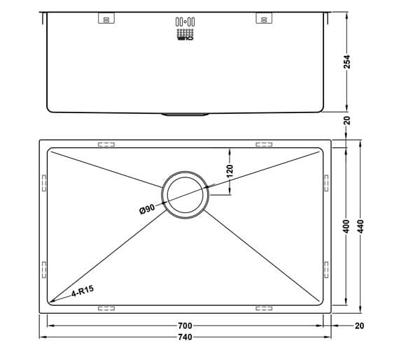Additional image of 1810 Company Zenuno15 550U Deep Single Bowl Kitchen Sink