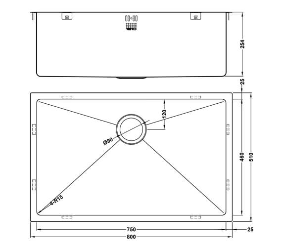 Additional image of 1810 Company Zenuno15 550U XXL Deep 1 Bowl Kitchen Sink