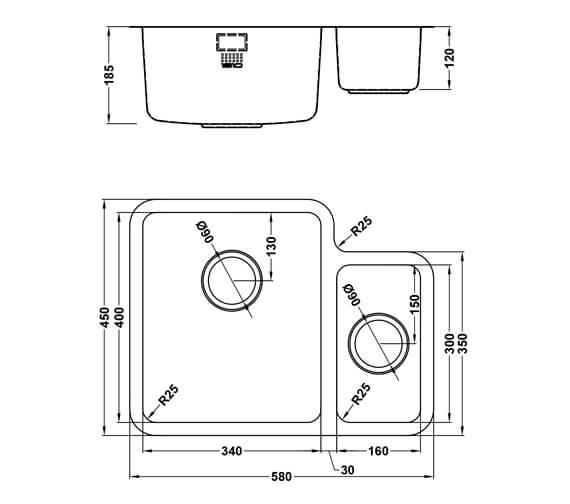 Technical drawing QS-V101468 / LPD/3416/U25/S/BBL/357