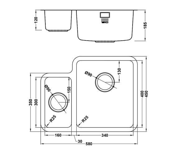 Additional image of 1810 Company Luxsoplusduo25 340-160U 1.5 Bowl Left Handed Kitchen Sink