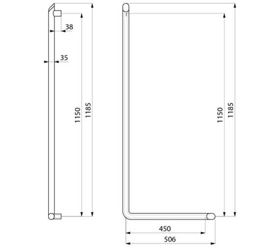 Alternate image of Delabie Be-Line Aluminium L-Shaped Grab Bar