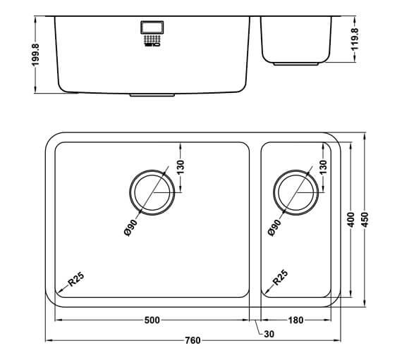 Technical drawing QS-V101470 / LPD/5018/U25/S/BBL/361