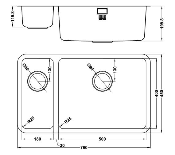 Additional image of 1810 Company Luxsoplusduo25 500-180U Left Hand 1.5 Bowl Kitchen Sink
