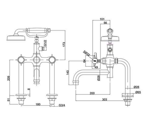 Alternate image of Burlington Arcade Deck Mounted Bath Shower Mixer Tap