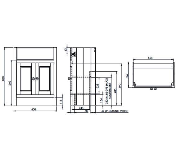 Technical drawing QS-V25362 / HAM600SCT.W