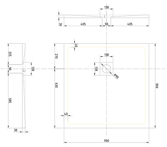 Technical drawing QS-V99530 / T90RTG
