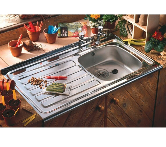 Clearwater Contract Lay-On 1.0 Bowl Stainless Steel Kitchen Sink With Waste And Overflow