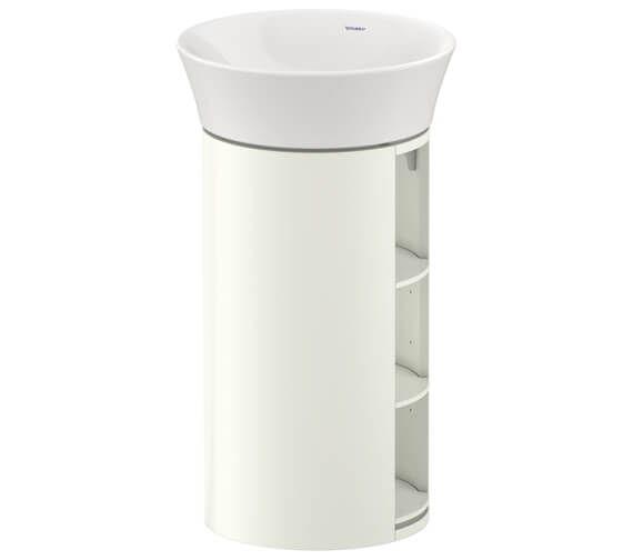 Duravit White Tulip 350 x 410mm Floor-Standing Vanity Unit With Wooden Shelf
