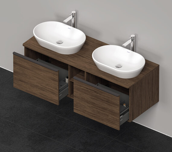 Additional image of Duravit D-Neo 2 Drawer 1400mm Wide Wall Mounted Vanity Unit