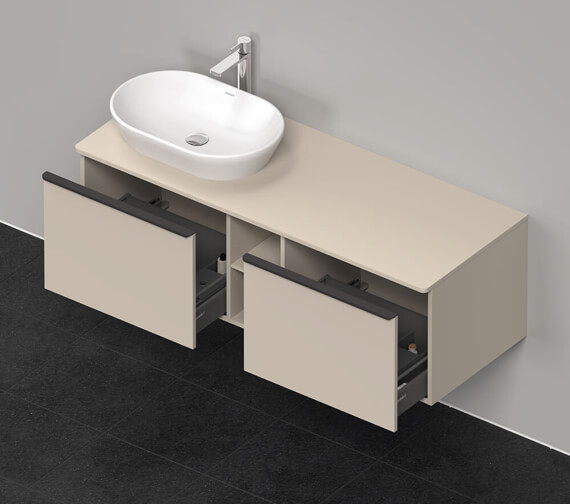 Alternate image of Duravit D-Neo 2 Drawer 1400mm Wide Wall Mounted Vanity Unit