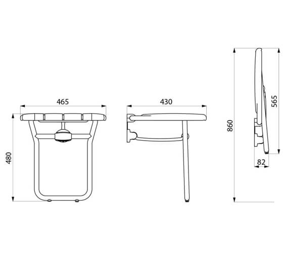 Additional image of Delabie Lift-Up Shower Seat With ALU Leg